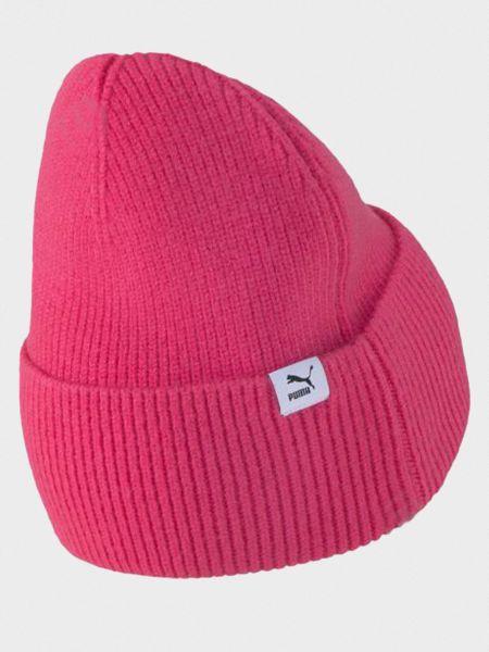 Розовая шапка бини с отворотом с надписью Puma