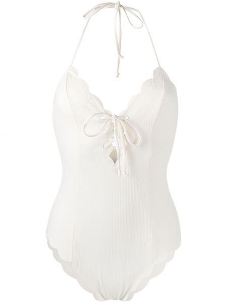 Белый пляжный слитный купальник с открытой спиной с завязками Marysia