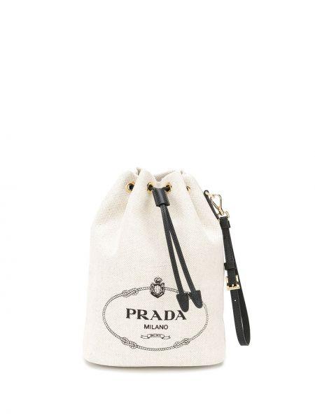 С ремешком с кулиской хлопковая кожаная сумка Prada