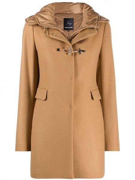 Однобортное классическое шерстяное пальто с капюшоном узкого кроя Fay