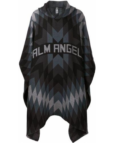 Klasyczny czarny wełniany peleryna z kapturem Palm Angels