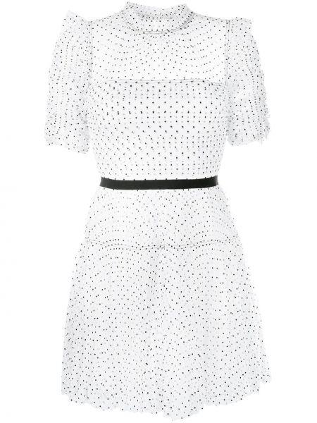Белое платье мини в горошек с оборками Self-portrait