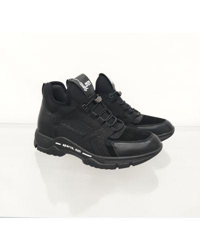 Высокие кроссовки на шнуровке - черные Lonza