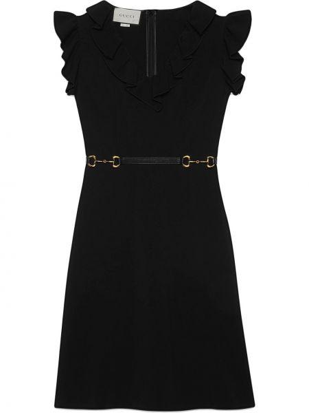 Расклешенное платье с V-образным вырезом на молнии с оборками Gucci