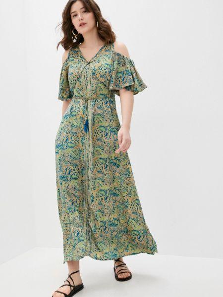 Платье с открытыми плечами зеленый снежная королева