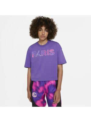 Fioletowy t-shirt bawełniany na co dzień Nike