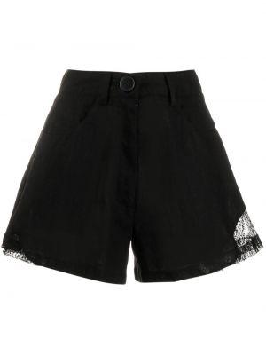 Кружевные черные с завышенной талией шорты Almaz