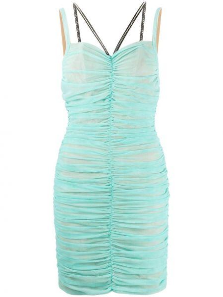 Платье мини из фатина бирюзовый Philipp Plein