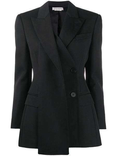 Шерстяной черный пиджак с карманами двубортный Alexander Mcqueen