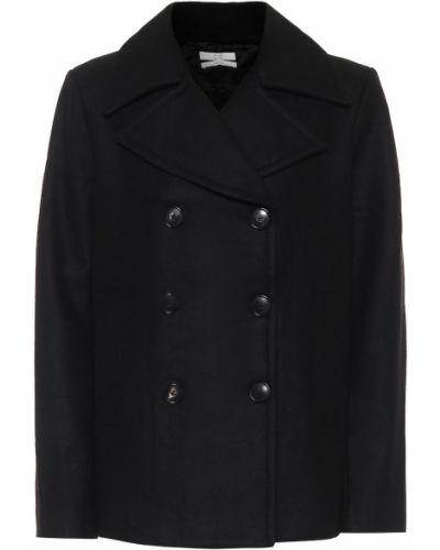 Шерстяное черное пальто двубортное Co
