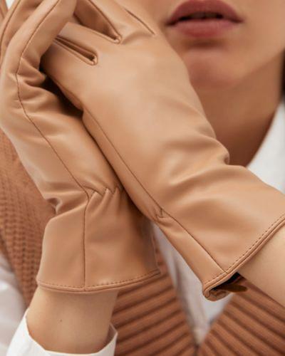 Бежевые перчатки из полиэстера Zarina