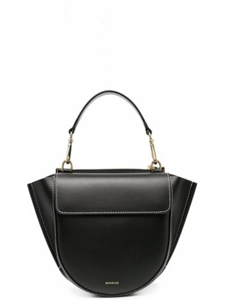 Skórzany czarny torba kosmetyczna z gniazdem z kieszeniami Wandler