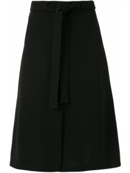 Черная с завышенной талией юбка миди в рубчик с карманами Egrey