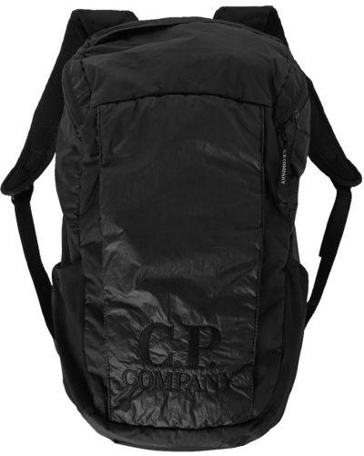 Czarny plecak sportowy pikowany z haftem C.p. Company