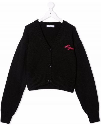 Czarny sweter z dekoltem w serek Msgm Kids