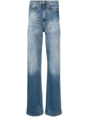 Bawełna klasyczny niebieski jeansy o prostym kroju z paskiem Acne Studios
