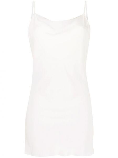 Прямое шелковое белое платье мини Gilda & Pearl