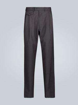 Czarne spodnie w paski wełniane Rochas