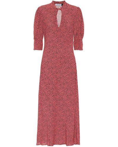 Różowa sukienka midi z wiskozy z printem Rixo