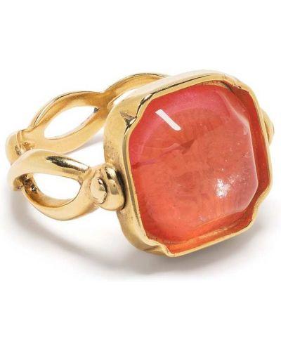 Pomarańczowy złoty pierścionek pozłacany Goossens