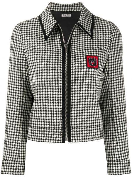 Черный пиджак с вышивкой на молнии с карманами Miu Miu