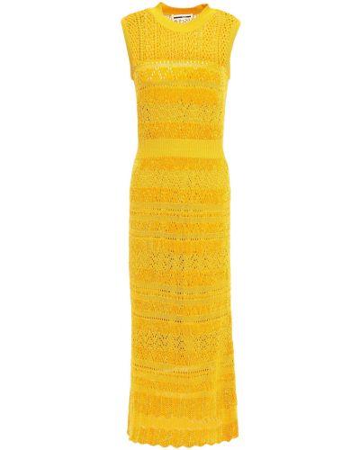 Льняное открытое платье миди в полоску Mcq Alexander Mcqueen