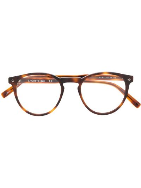 Brązowy oprawka do okularów okrągły za pełne Lacoste