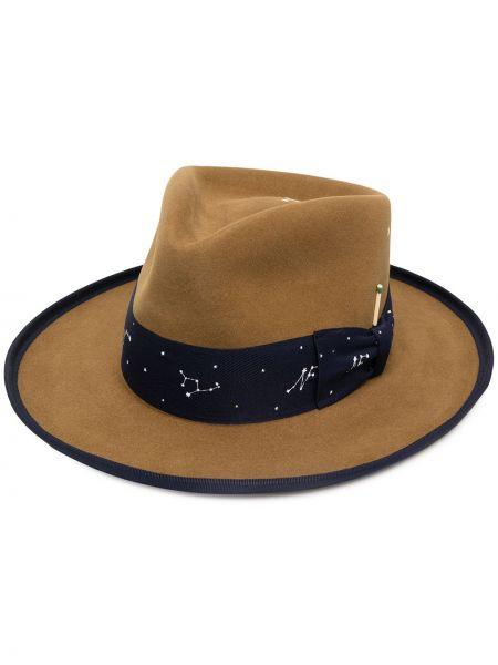 Коричневые шляпа-федора свободного кроя Nick Fouquet