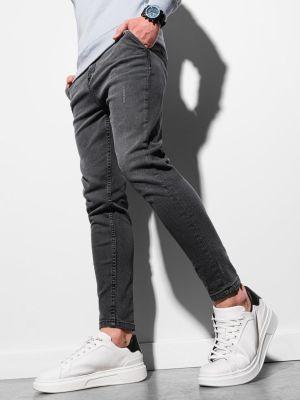 Mom jeans materiałowe - czarne Ombre