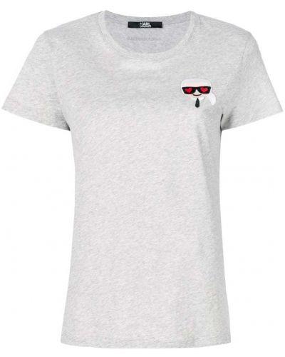 Серая хлопковая футболка Karl Lagerfeld