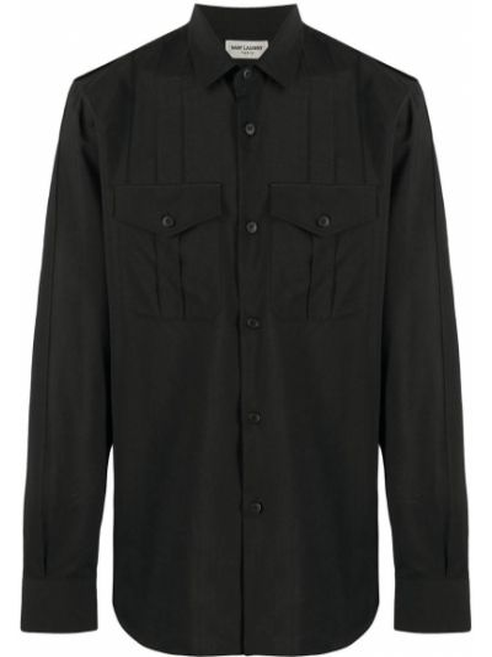 Czarny klasyczna koszula z kołnierzem z kieszeniami z łatami Saint Laurent