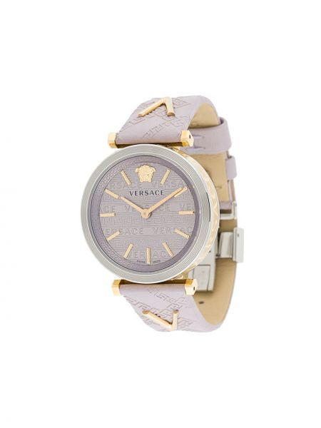 Zegarek kwarcowy na skórzanym pasku szary Versace