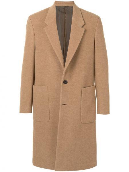 Brązowy długi płaszcz wełniany z długimi rękawami Ermenegildo Zegna