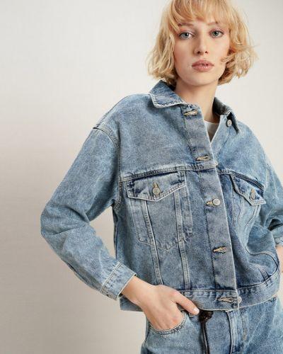 С рукавами синий удлиненный пиджак на пуговицах Ostin