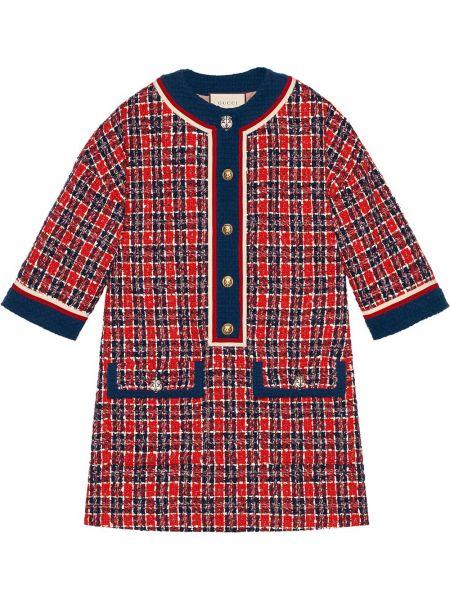 Шелковое платье винтажное на пуговицах с воротником Gucci