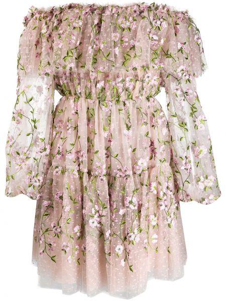 Платье с поясом с цветочным принтом с рукавами Giambattista Valli
