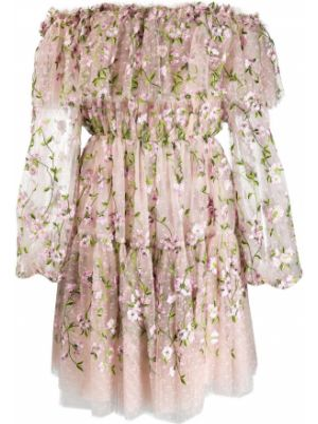 Шелковое розовое пышное платье Giambattista Valli