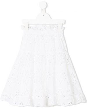 Расклешенная хлопковая белая юбка эластичная Tuchinda