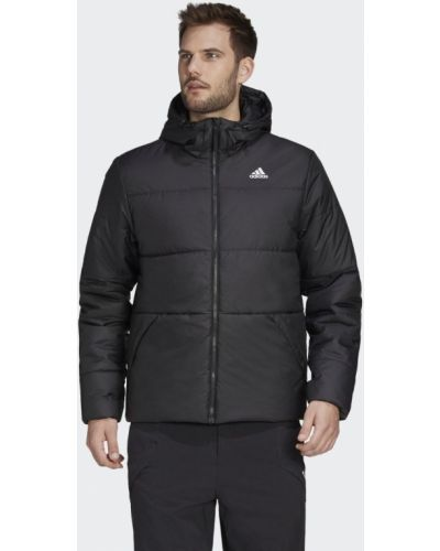 Теплая черная утепленная куртка на шнурках Adidas