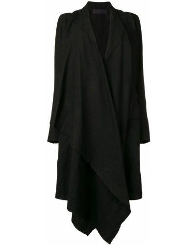 Черное длинное пальто с капюшоном на пуговицах Marc Le Bihan