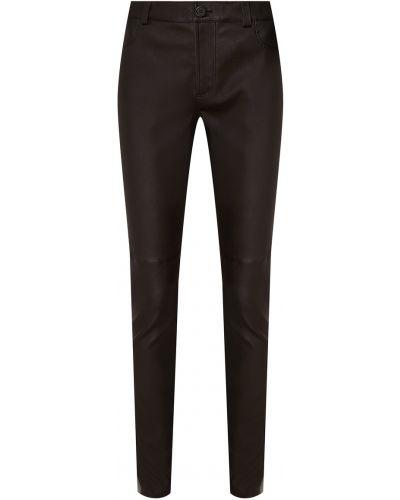 Кожаные черные укороченные брюки стрейч Izeta