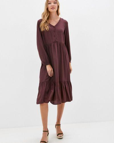 Прямое бордовое платье Sela
