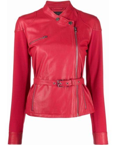 Красная кожаная куртка байкерская Pinko