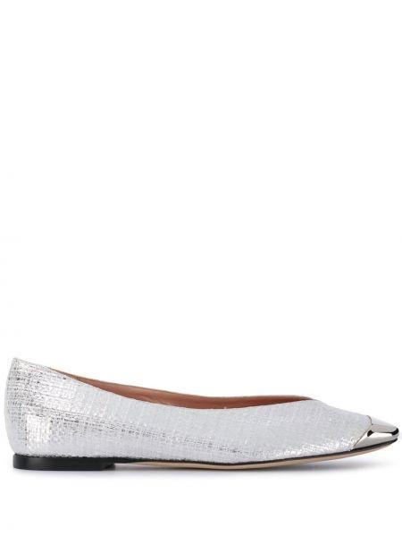Кожаные белые балетки на каблуке Emilio Pucci