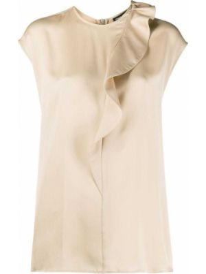 Шелковая блузка без рукавов с вырезом Giorgio Armani