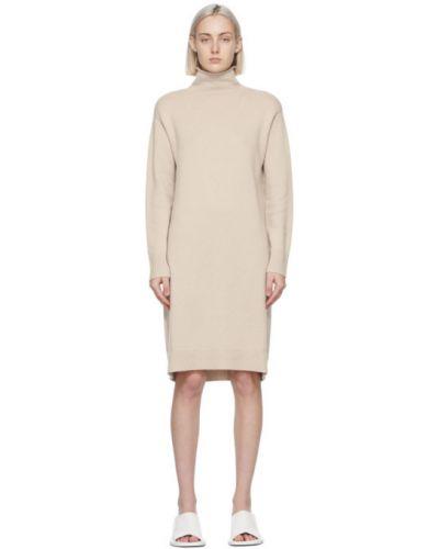 Шерстяное бежевое платье макси с длинными рукавами 's Max Mara