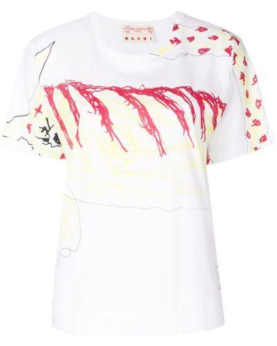 Белая футболка в рубчик Marni