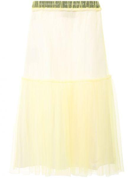 Желтая с завышенной талией юбка миди с оборками из фатина Viktor & Rolf