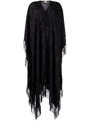 Черное длинное пальто жаккардовое с V-образным вырезом Saint Laurent