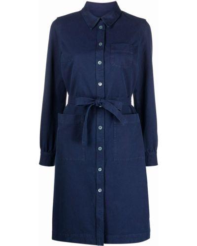 Синее платье макси с поясом с воротником A.p.c.
